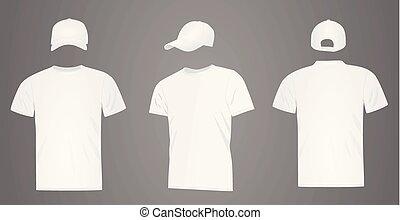 blanc, casquette, base-ball, chemise, t