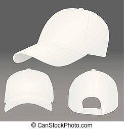 blanc, casquette, base-ball