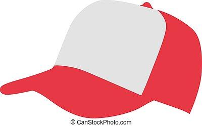 blanc, casquette, base-ball, rouges