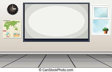 blanc, centre, salle, planche