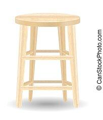 blanc, chaise bois, fond, rond