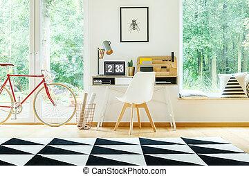 blanc, chaise, bureau