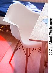blanc, chaise, et, bureau bois