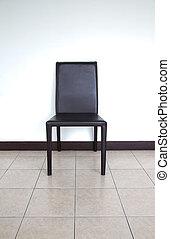 blanc, chaise, noir, isolé