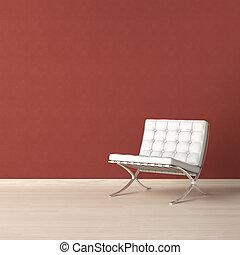 blanc, chaise, sur, mur rouge