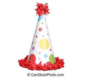 blanc, chapeau anniversaire, arrière-plan rouge
