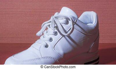 blanc, chaussure, cravates, arrêter mouvement, lacets