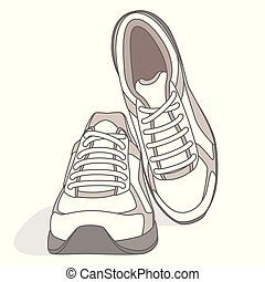 blanc, chaussures, paire, isolé, courant