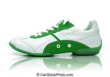 blanc, chaussures sport, fond