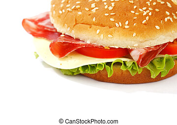 blanc, cheeseburger, isolé
