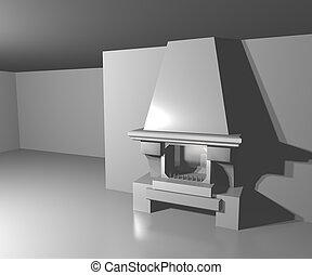 blanc, cheminée, salle, fond