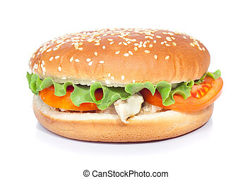 blanc, chickenburger, isolé