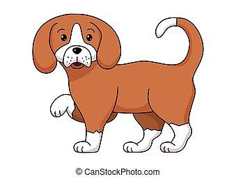 blanc, chien brun, paws., rigolote, peu