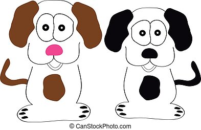 blanc, chiens, fond