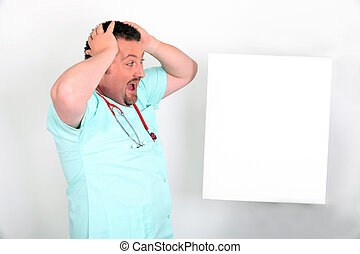 blanc, choqué, message, mâle, infirmière, panneau