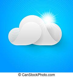 blanc ciel bleu, nuage, une