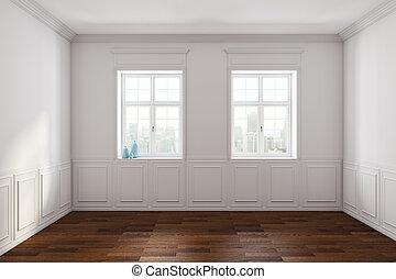 blanc, classique, intérieur