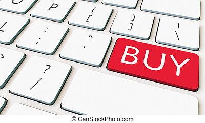 blanc, clavier ordinateur, et, rouges, achat, key., conceptuel, 3d, rendre