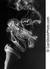 blanc, closeup, fumée