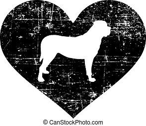 blanc, coeur, mastiff, noir