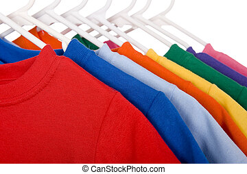 blanc, coloré, t-shirts