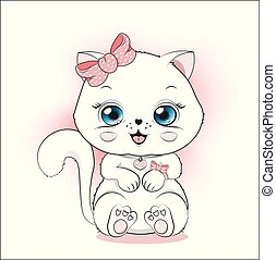 blanc, coloration, princesse, chaton