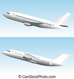 blanc, comercial, aviones, conjunto