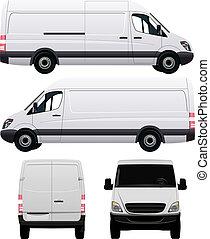 blanc, commercial, véhicule