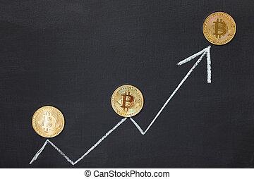 blanc, concept, bitcoin, flèche