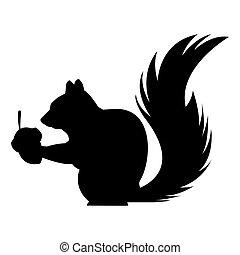 blanc, conception, écureuil, noir