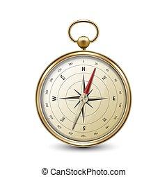 blanc, conception, compas, réaliste, icône, voyage, doré, windrose, métal, antiquité, closeup, vendange, devant, vecteur, arrière-plan., concept., 3d, isolé, vieux, navigation, template., vue
