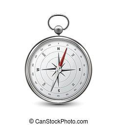 blanc, conception, compas, réaliste, icône, voyage, windrose, métal, antiquité, closeup, vendange, devant, vecteur, arrière-plan., concept., argent, 3d, acier, isolé, vieux, navigation, template., vue