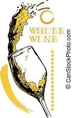 blanc, conception, vin