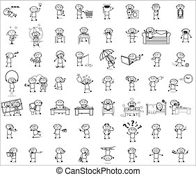 blanc, concepts, vecteur, illustrations, noir, -, ensemble, dessin animé, voleur