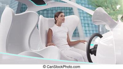 blanc, conduite, femme, mode, travers, ville, voiture, autopilot, intérieurs