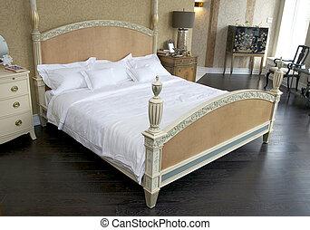 blanc, confortable, confortable, chambre à coucher