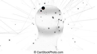 blanc, connexions, rotation, contre, fond, cerveau, réseau