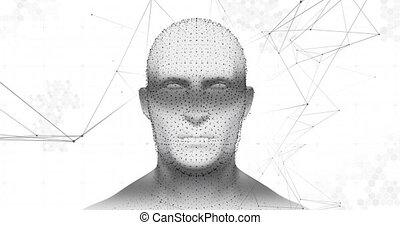 blanc, connexions, rotation, modèle, contre, tête humaine, fond, réseau