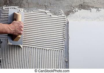 blanc, construction, notched, truelle, ciment