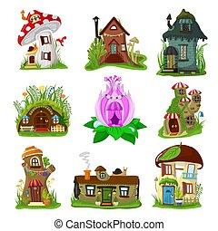 blanc, conte fées, fée, logement, vecteur, théâtre, maison, isolé, fond, gosses, village, illustration, dessin animé, elfe, ou, gnome, magie, treehouse, fantasme, ensemble