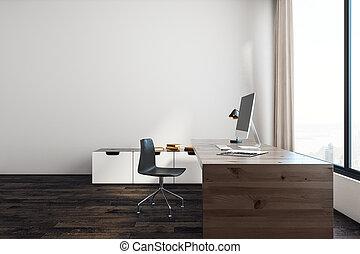 blanc, copie, espace bureau