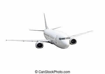 blanc, couleur avion, arrière-plan., isolé, passager