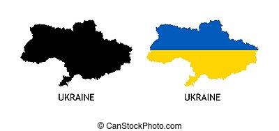 blanc, couleur, silhouette, ukraine, vecteur