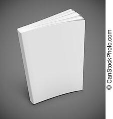 blanc, couverture livre, vide
