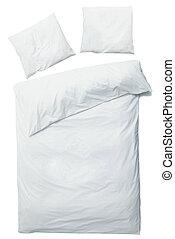 blanc, couverture, oreillers