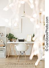 blanc, créatif, bureau