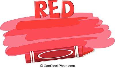 blanc, crayon, arrière-plan rouge