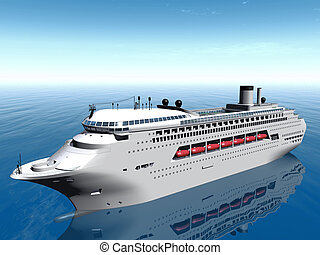 blanc, croisière bateau