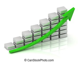 blanc, croissance, blocs, diagramme, business