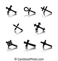blanc, croix, fond, isolé, collection